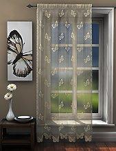 Butterflies lace net curtain panel ivory cream