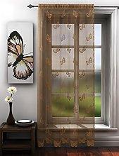 Butterflies lace net curtain panel latte beige