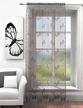 Butterflies lace net curtain panel silver grey