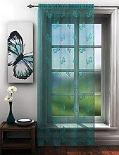 Butterflies lace net curtain panel teal blue