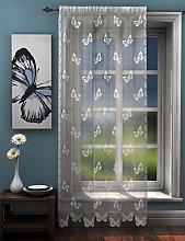 Butterflies lace net curtain panel white butterfly