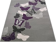 Butterflies Rug - 160x230cm - Grey.