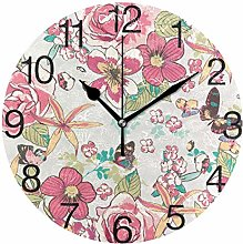 Butterflies with Flowers Round Wall Clock, Silent