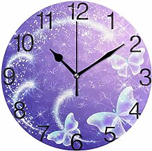 Butterflies with Sparkle Stars Round Wall Clock,