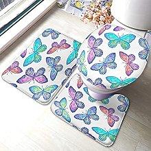Butterfly Bathmat,Colorful Butterfly Pattern 3