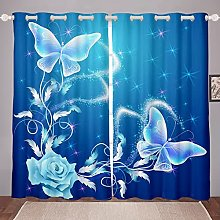 Butterfly Curtain for Bedroom Child Rose Floral
