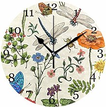 Butterfly Dragonfly Flower Leaves Wall Clock