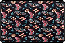 Butterfly Floral Doormat Rug Easy to Clean Non