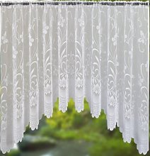 BUTTERFLY / FLORAL JARDINIERE WHITE NET CURTAIN