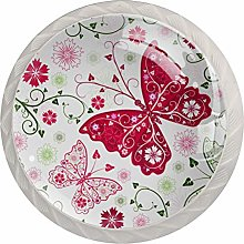 Butterfly Floral Pattern Drawer Knobs Pulls