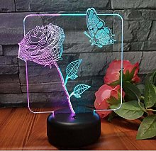 Butterfly Flower 3D Visual Light Valentine's