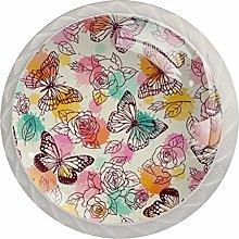 Butterfly Flower Pink, Modern Minimalist Printing