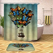 Butterfly Lifted Basket. Shower Curtain: 180X180