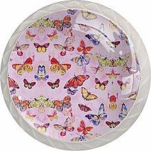 Butterfly Pink Pattern Cabinet Door Knobs Handles