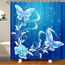 Butterfly Shower Curtain for Rose Floral Bathroom