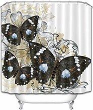 Butterfly Shower Curtain Set Waterproof Curtains