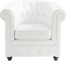 Button Armchair in White Chesterfield