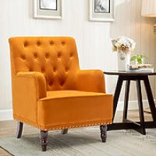 Buttoned Frosted Velvet Wingback Armchair, Orange