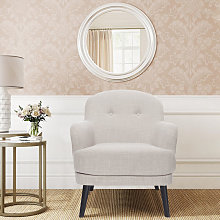 Buttoned Leisure Wingback Armchair, Beige