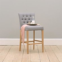 Buttoned Upholstered Bar Stool - Grey