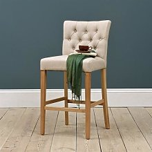Buttoned Upholstered Bar Stool - Stone