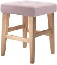 Buttons Short Stool in Powder Pink Brushed Linen