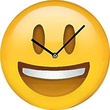 BUVU VM15AV015 Vintage Glass Wall Clock, Yellow,