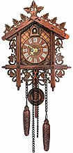 Buwei Vintage Wooden Hanging Cuckoo Wall Clock for