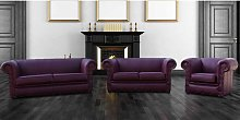 Buy Aubergine Sofa 3+2+1 | Leather Chesterfield