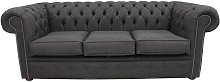 Buy Grey Chesterfield Linen Fabric 3 Seater Sofa