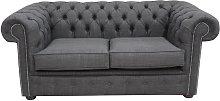 Buy Grey Fabric Chesterfield Linen Sofa Settee |
