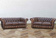 Buy Orignal 3 + 2 Chesterfield Sofa Antiqued Tan