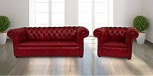 Buy red leather 3+1 Chesterfields|UK