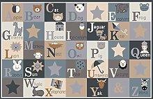BuyElegant Alphabets Nursery Rugs Grey Area Carpet