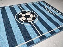 BuyElegant Blue Football Pitch Area Rug Polyester
