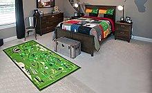 BuyElegant World Map Green Area Carpet Polyester