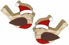 by Robelli Pack of 2 Wooden Robin Christmas Table
