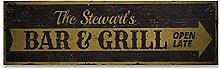 by Unbranded Wood sign, Family Bar & Grill Wood