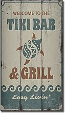by Unbranded Wood sign,Tiki Bar And Grill, Tiki