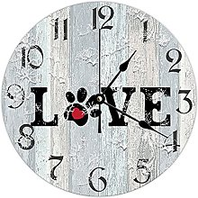by Unbranded Wooden Clock 10 Inch, Love, Paw
