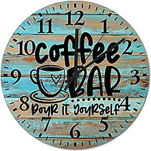 by Unbranded Wooden Wall Clock 12 Inch, Coffee Bar