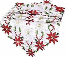 BYFRI Embroidered Christmas Table Runner