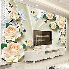 BYSQX Non-Woven Wallpaper Beautiful Flowers Pearls