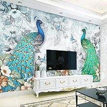 BYSQX Non-Woven Wallpaper Green Animal Peacock