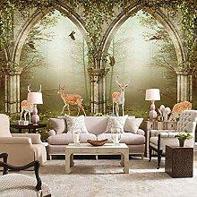 BYSQX Non-Woven Wallpaper Green Arch Deer Bird