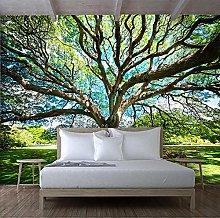 BYSQX Non-Woven Wallpaper Green Big Tree Landscape