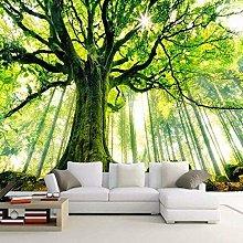 BYSQX Non-Woven Wallpaper Green Big Tree Sunshine
