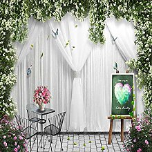 BYSQX Non-Woven Wallpaper Green Flowers Curtains