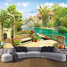 BYSQX Non-Woven Wallpaper Green Garden Boat Lake