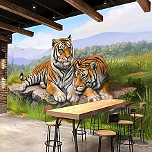 BYSQX Non-Woven Wallpaper Green Grass Animals